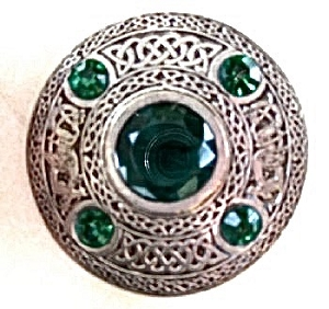 5 Stone Emerald Plaid Broach